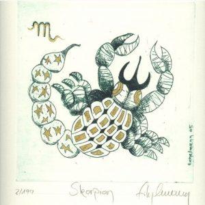 Skorpion - konzentriert, mutig, entschlossen, manchmal streitsüchtig und scharf, fest